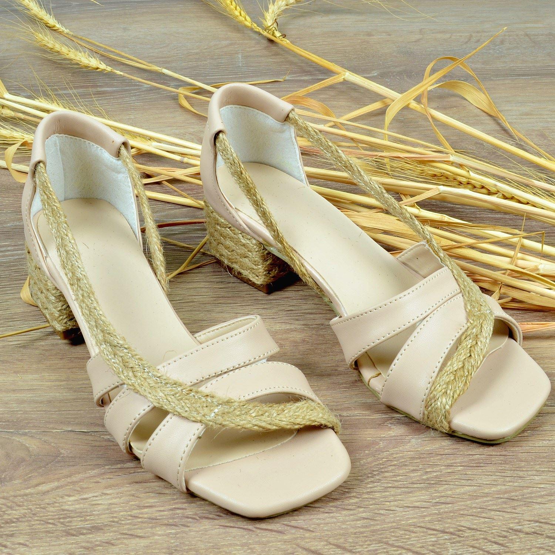 Nude Süet Hasırlı Alçak Topuklu Sandalet