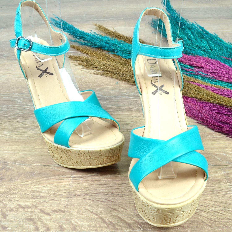 Mavi Dolgu Topuk Kadın Sandalet