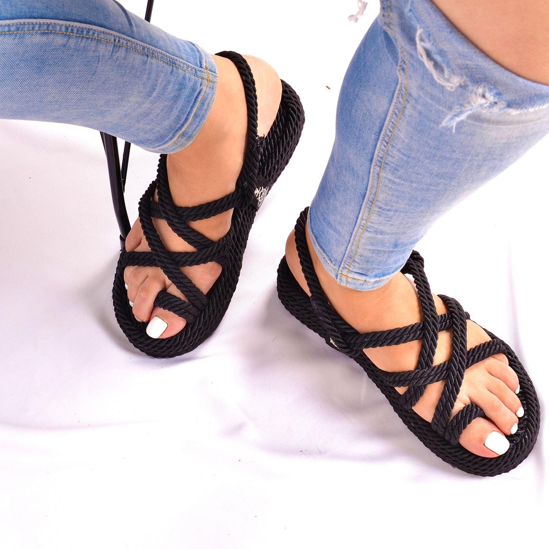 Siyah Halat Düz Kadın Sandalet