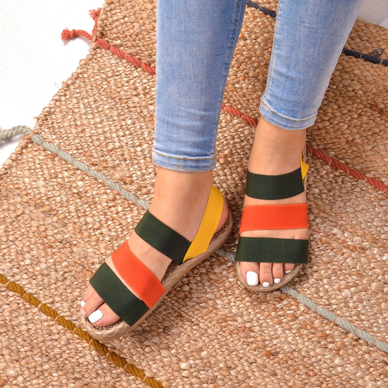 Renkli Lastik Kadın Sandalet