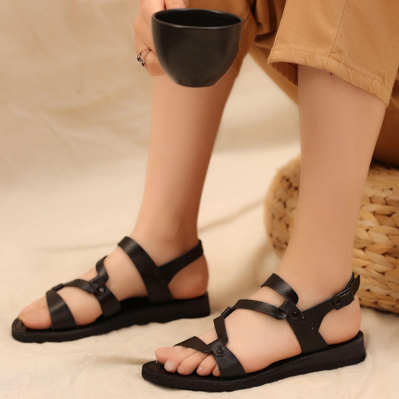 Siyah Gerçek Deri Kadın Sandalet