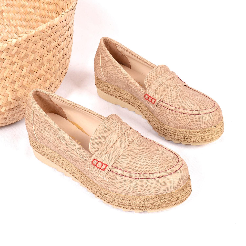 Bej Kalın Taban Kadın Sneaker 161