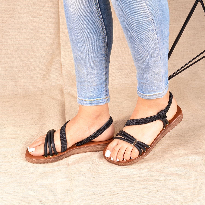 Siyah Lastikli Kadın Sandalet