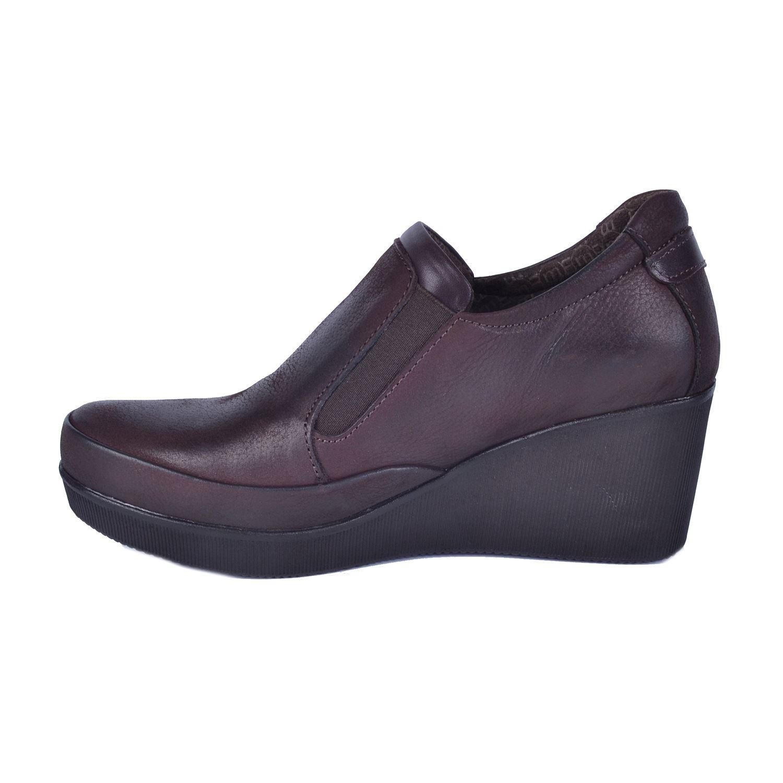 Kahve Kadın Dolgu Topuk Deri Ayakkabı 525
