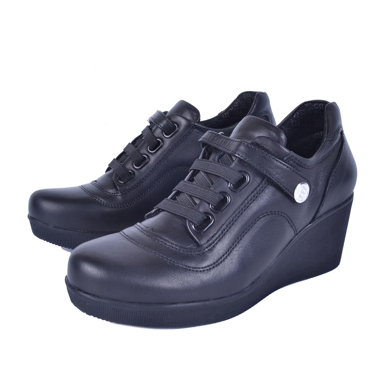 Siyah Kadın Dolgu Topuk Deri Ayakkabı 535