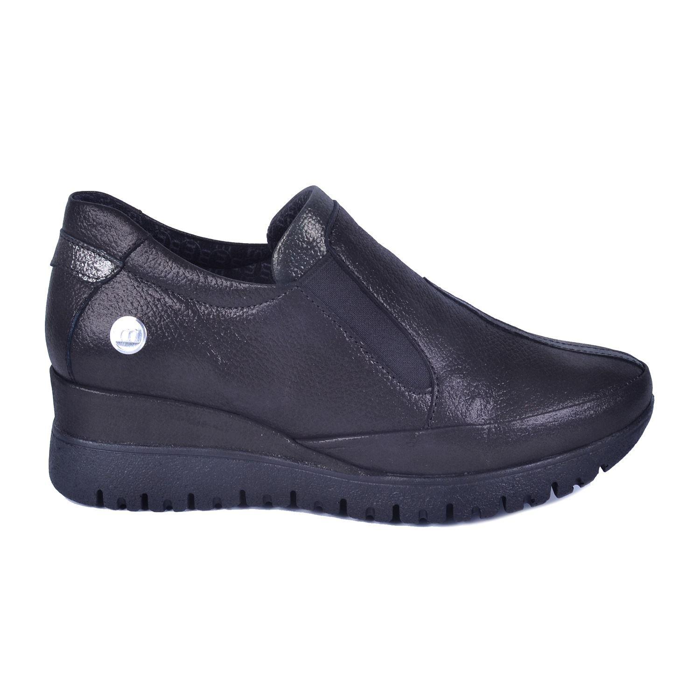 Siyah Simli Kadın Dolgu Topuk Deri Ayakkabı 355