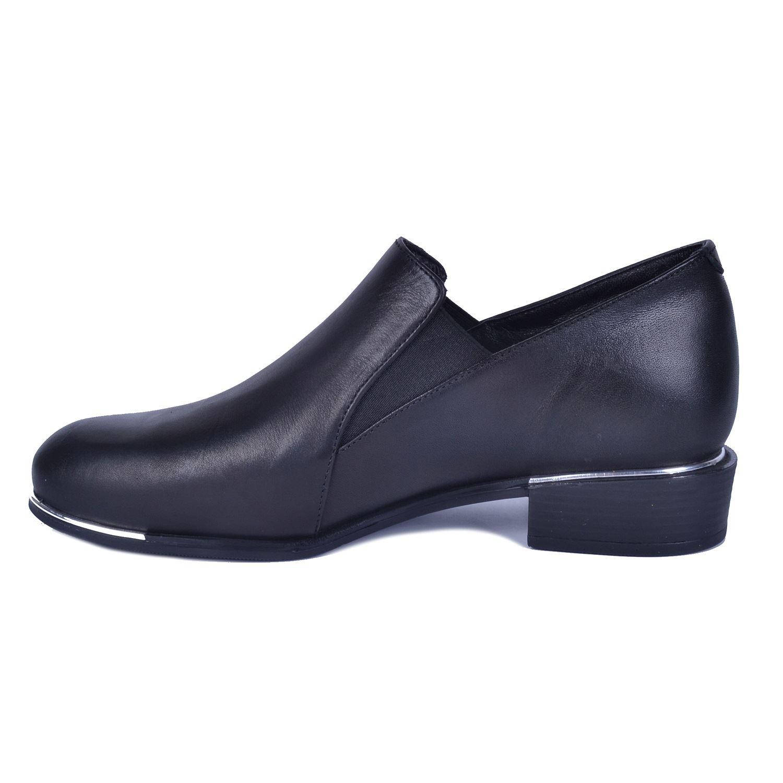 Siyah Kadın Alçak Topuk Deri Ayakkabı 385