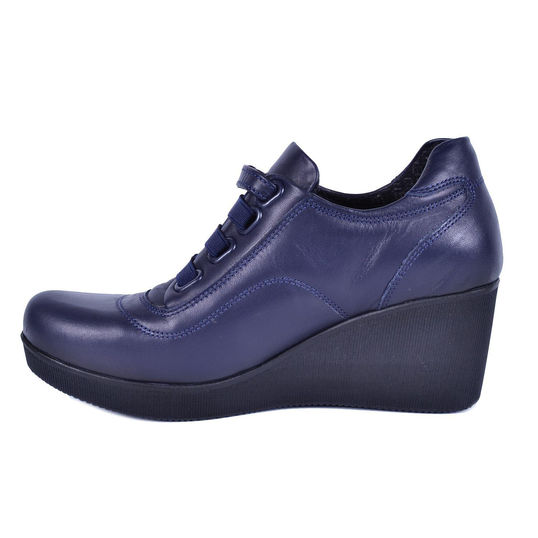 Lacivert Kadın Dolgu Topuk Deri Ayakkabı 535