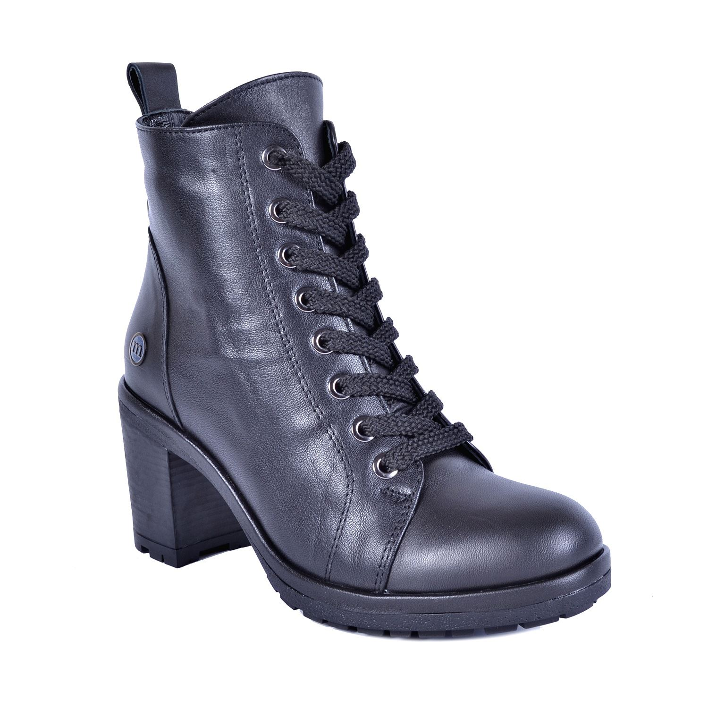 Siyah Kadın Topuklu Deri Bot 4625