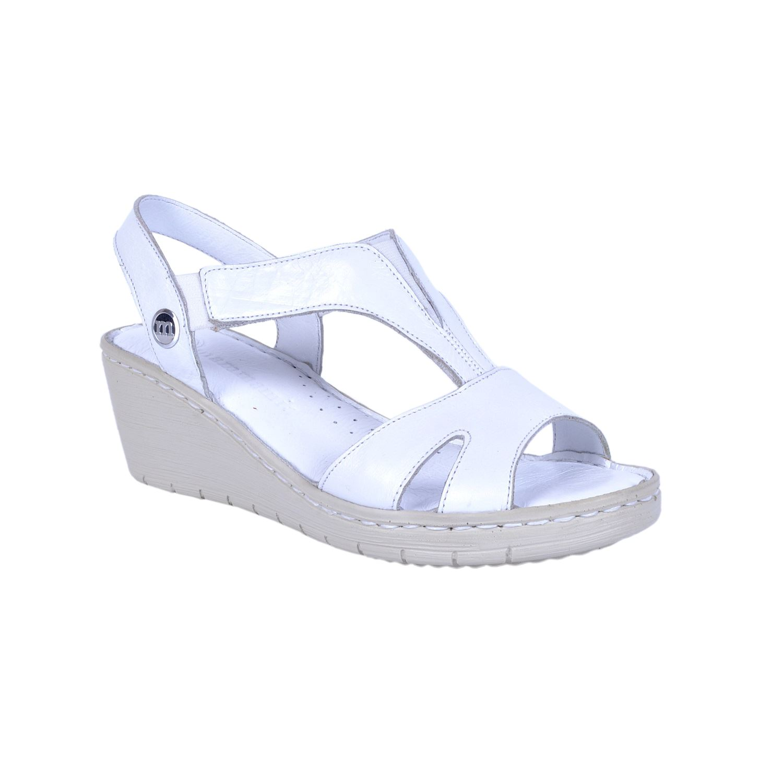 Beyaz Kadın Deri Sandalet 1290