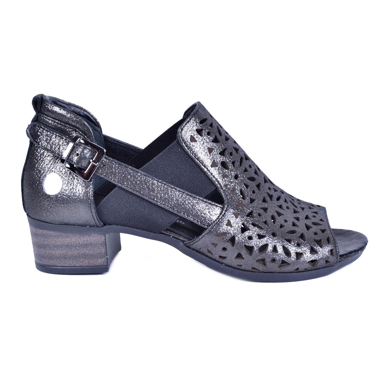 Gri Kadın Deri Sandalet 3180